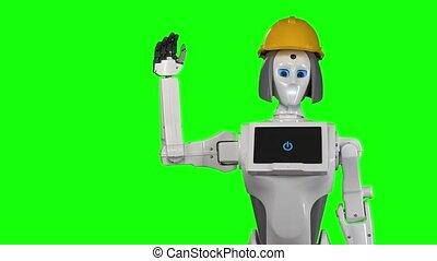Robot in an orange builder's helmet waves hi . Green screen. Slow motion