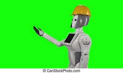 Robot in an orange helmet invites workers to his office. Green screen. Side view. Slow motion