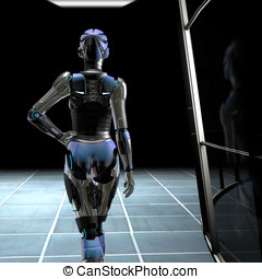 Robot in Dark Hallway - Beautiful female Robot walking down...