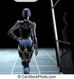 Robot in Dark Hallway - Beautiful female Robot walking down...