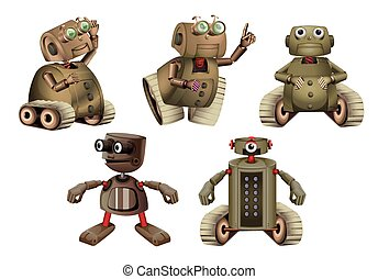 Robot in different actions