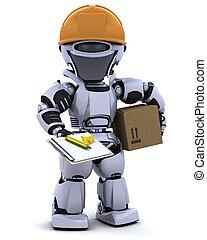 robot, in, hardhat, med, skrivplatta