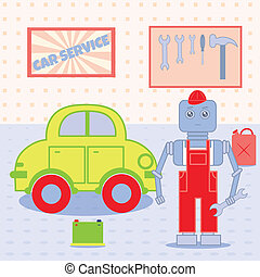 robot in the car service