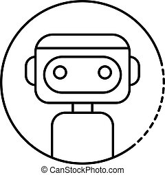 Robot in the circle icon, outline style