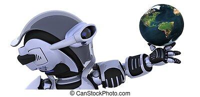 robot inspecting a globe - 3D render of a robot inspecting a...