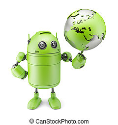Robot inspecting a globe. Isolated on white