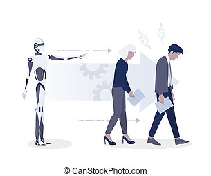 Robot is the boss and employees work for it. Tired office workers