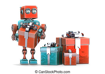 robot, isolated., contient, boxes., path., cadeau, coupure
