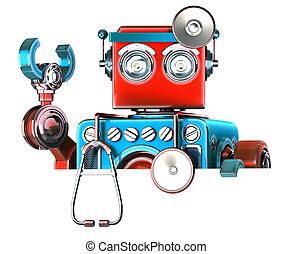 robot, isolated., vide, medic, contient, coupure, board., sentier