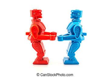 robot, játékszer, hajlandó verekszik