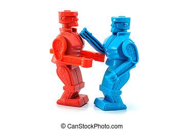 robot, játékszer, küzdelem