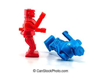 robot, játékszer, kiütés