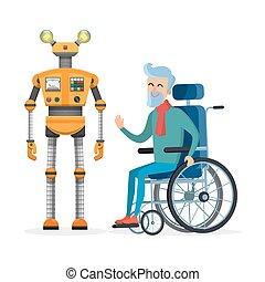 robot, jaune, handicapé, personne, vecteur, aides