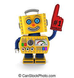 robot jouet, jaune, heureux