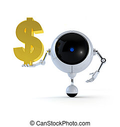 3D Illustration Robot Hold Money Sign in Hand. Dollar Sign. Isolated on Background