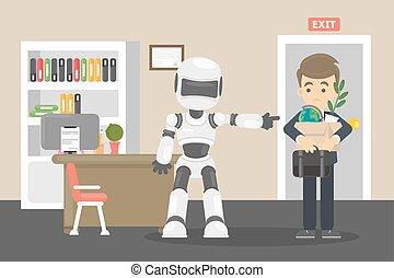 Robot kicked human away.