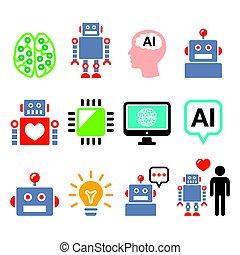 robot, kunstmatige intelligentie, (ai), cyborg, iconen, set
