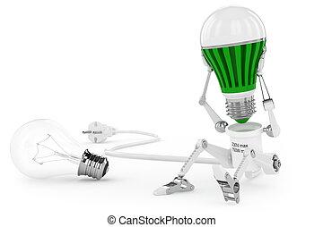 robot, lámpara, torsión, fue adelante, lámpara, en, head.