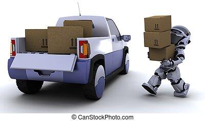 robot, ladda, rutor, in i, den, baksida, av, a, lastbil