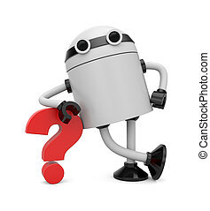 Robot leaning on a question - Image contain the clipping ...