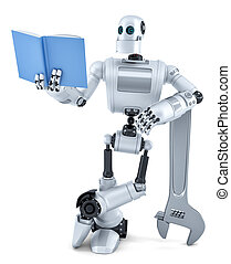robot, lezende , book., isolated., bevat, knippend pad