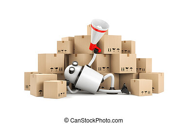 Robot lies among the boxes and speaks into a megaphone. 3d illustration