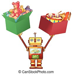 Robot lifting boxes with teddy bears and instruments