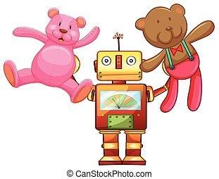Robot lifting up teddy bears
