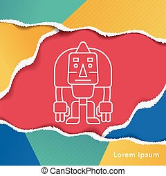 robot line icon