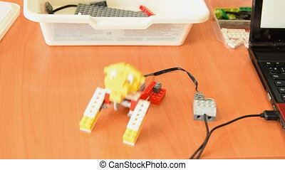 Robot lion made from educational kit - Robot lion connected...