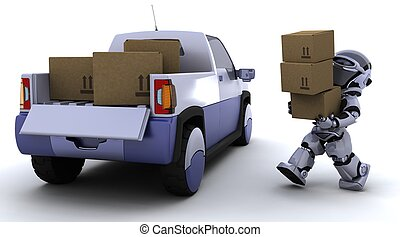Robot loading boxes into the back of a truck - 3D render of...