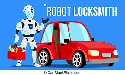 Robot Locksmith Repairing A Car Vector. Isolated Illustration