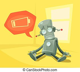 Robot low with battery. Vector flat cartoon illustration