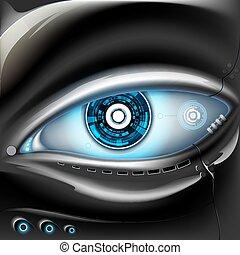 robot., métal, oeil