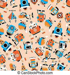 robot, mönster, seamless