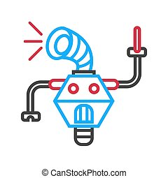 Robot machine loud speaker isolated on white background. Vector illustration
