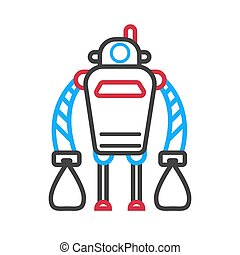 Robot machine with long hands isolated on white background. Vector