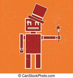 Robot magician vector illustration