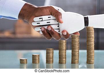 robot, main, monnaie, secousse, pile, homme