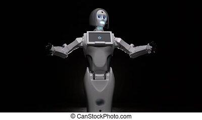 Robot makes various movements . Black background - Robot...