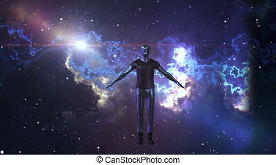 """Robot man is soaring in the open space"" - ""A futuristic 3d..."