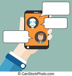 robot, mano, plano, chatbot, smartphone, hombre de negocios
