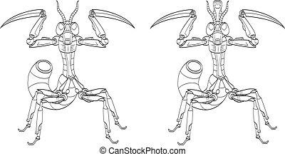 Robot-mantis - An illustration of two sketchy battle robots....
