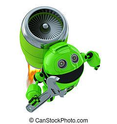 robot, mecánico, con, wrench., tecnología, concepto