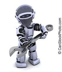 robot, med, skruvnyckel