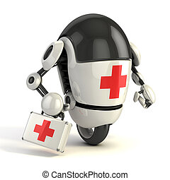 robot medic - 3d rendering of the funny cartoon like robot with the first aid sing on it holding the medical first aid kit