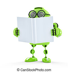 robot, met, book.