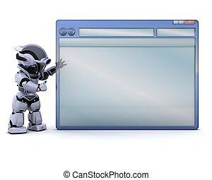 robot, met, lege, computer, venster