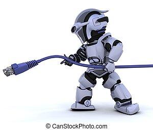 robot, met, rj45, netwerk, kabel