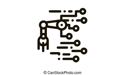 Robot Microchip Icon Animation. black Robot Microchip animated icon on white background